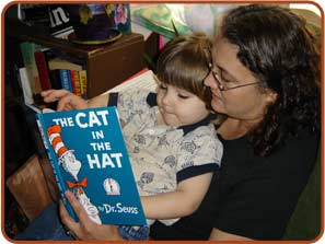adult reading to child
