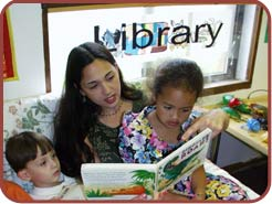 librarian reading to children