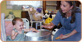 child and parent drumming